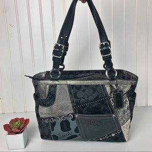 AUTHENTIC COACH TONAL PATCHWORK GALLERY TOTE BAG